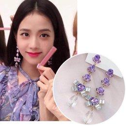 $enCountryForm.capitalKeyWord Australia - New Korean Fashion Purple Crystal Flower Dangle Earrings For Women Sweet Heart Rhinestone Long Pendientes Gifts