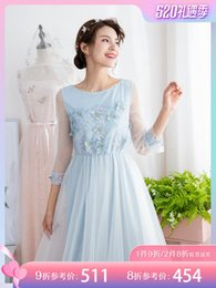 self print patterns NZ - Fairy2019 Dress Embroidery Gauze Suit-dress Spring And Summer New Pattern Self-cultivation Thin Will Pendulum Long Fairy Skirt 935901