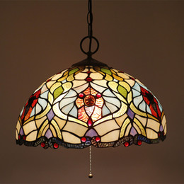 Pendant Lampshades Australia - 16 Inch Indoor Pendant Light European Luxury Bedroom Pendant Lamp Living Room Lighting Glass Lampshade With Wire Switch E27 AC90-260V