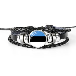 Cheap Bracelet Sets UK - Cheap Hot Fashion Glass Cabochon Estonia National Flag World Cup Football Fan Bracelets Genuine Leather Rope Beaded DIY Jewelry Wholesale