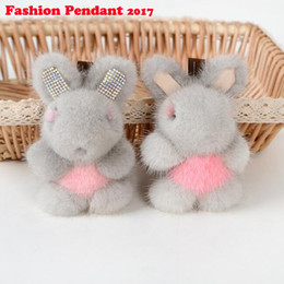 Chinese  Cute Bunny Keychain mink fur Rabbit Fur pompom Key Chain For Women Bag Pendant car real fur diamante Doll manufacturers