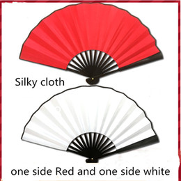 hand crafted gifts Australia - Latest Blank White Large Folding Silk Hand Fan Two-color Men Fans Traditional crafts Chinese Fan DIY Fine Art Painting Programs 1pcs