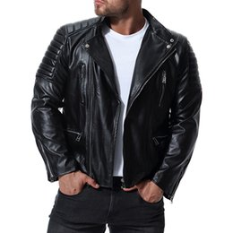 Casual Motorcycle Jackets Australia - 2019 New Jacket Men Hot Sale High Quality Motorcycle Leather Jacket Autumn Winter Coat Casual Solid Male Jackets