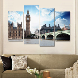 Canvas Prints Frame NZ - Modern Canvas Wall Art Pictures Frame Home Decor Room 4 Piece The Thames River London City Landscape Poster HD Printed Painting