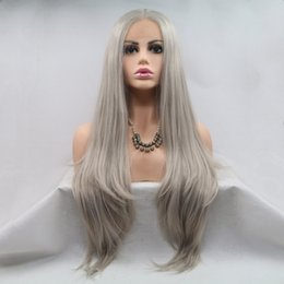 $enCountryForm.capitalKeyWord Australia - Mixed Grey Lace Front Wigs For White Women Natural Straight Half Hand Tied Heat Resistant Fiber Synthetic Lace Front Silver Grey Wig