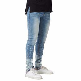$enCountryForm.capitalKeyWord Australia - Men's 2018 New Skinny Paint Side Ankle Zipper Jeans Fashion Casual Denim Pencil Jeans