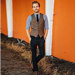 Styles Fashion Suits Australia - 2019 New fashion Brown tweed Vests Wool Herringbone British style custom made Mens suit tailor slim fit Blazer wedding suits for men