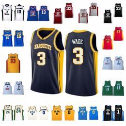 6fca2b09c 2019 Dwyane 3 Wade Russell 0 Westbrook Kobe 33 Bryant NCAA Jersey Marquette  UCLA Bruins College Lower Merion High School Basketball Jerseys