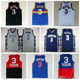 057670dd4b34 2016 Georgetown Hoyas 3 Allen Iverson College Jersey New Rev 30 Material  Allen Iverson Shirts Throwback Uniforms Red Gray Blue White Black