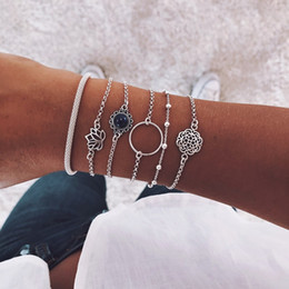 gems for clothes 2019 - Retro Hollow Multilayer Bracelets Set 6 PCS for Women Girls Silver Lotus Bead Round Gem Chain Exquisite Party Clothing W