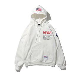 Designer fitteD hooDies men online shopping - New NASA hoodies Mens Womens designer hoodies street hip hop cotton high quality loose fit Heron Preston sweatshirt