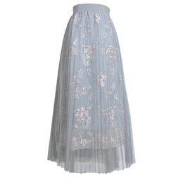 b5956b03a Sleeper #W401 2019 SUMMER FASHION Women Girls Big Swing Tulle Pleated Long  Maxi Tutu High Waist Net Skirt charm Free Shipping