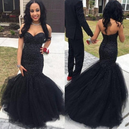 Sweetheart Beaded Evening Tulle Champagne Australia - 2019 Stylish Black Mermaid Prom Dresses Beaded Sweetheart Neck Sequined Evening Gowns Sweep Train Tulle Plus Size Party Dress