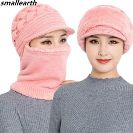 Beanies For Winter Australia - Female Winter Knitted Rabbit Fur Hat Women Beanies Scarf Winter Hat For Ladies Mom Caps Gorras Bonnet Mask Brand Balaclava Hats