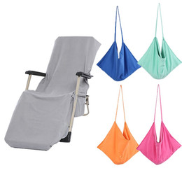 gardening chairs UK - 5 Colors Beach Lounge Chair Cover Towel Bag Sun Lounger Mate Holiday Garden Beach Buddy Chair Cover