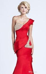 model dress peplum 2019 - 2019 Gorgeous Evening Dresses One Shoulder Short Sleeve Red Satin Crystal Beads Glitter Mermaid Sweep Train Draped Peplu