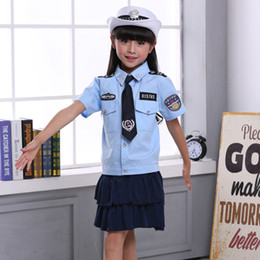 Dresses For Teenagers NZ - Kids Girls Women Uniform Cosplay Costumes Clothing Set 4PCs Dresses for Teenager Girls Halloween Cop Children Clothes