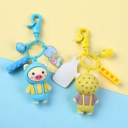 strawberry key Australia - Cartoon strawberry Pig Key chain Cute Animal Keychains Holder For Women Girl Car Bag Pendant Jewelry Valentine Gift key Ring