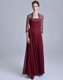$enCountryForm.capitalKeyWord Australia - A-Line Strapless Floor Length Claret Chiffon Lace Mother Of The Bridal Dresses With Long Sleeve Jacket Appliques Modest Party Dresses