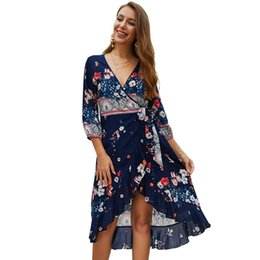 09aa635dd27 Discount sexy hot womens dresses - Hot New Spring Summer Floral Printed  Dress V-neck