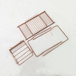 book shelves Canada - Stainless Steel Bathtub Rack Shower Organizer Bathtub Caddy Tray with Extending Sides Book Holder Rose Gold Bathroom Shelves GGA2883