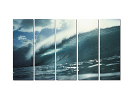 $enCountryForm.capitalKeyWord NZ - Large 5 Panel Modern Beach Canvas Print Surf Ocean Wave Seascape Painting Art Wall Home Decor Picture Contemporary For Living Room ASet146