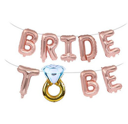 Diamond Gold Party Decorations Australia - Wedding Bridal Shower 16inch Gold Silver Bride To Be Letter Foil Balloons Diamond Ring Balloon for Hen Party Favors Decoration,8