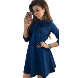 d3493ed0e8 Women Dress Fall Fashion Solid Vintage Elegant Mini Dress Autumn Bow Causal  Christmas Party Dresses Plus Size