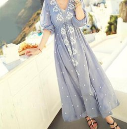 eb736f96bd36 -Ethnic Embroidery Bohemian Boho Hippie Dress Maxi Long Linen vintage Tunic  white blue Beach women summer clothing tunique femme
