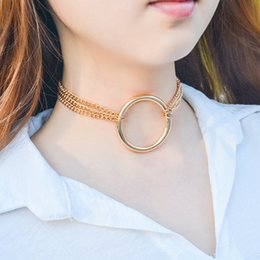 $enCountryForm.capitalKeyWord NZ - Tide Ring Short Necklace Female Pendant Fashion Clavicle Chain Womens Alloy Pendant Necklaces Christmas Gifts Two-piece Suite