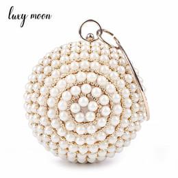 Coin Shape Dresses NZ - pearls evening bags designer round shape full dress party purse gold black beaded day clutch handbag chains shoulder bag
