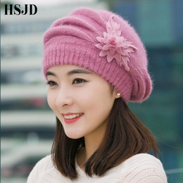 beanie ladies beret NZ - Elegant Women Knitted Hat Fur Berets Cap Autumn Winter Flower Crochet Beanies Caps Ladies Female Thick Skullies Beret Hat
