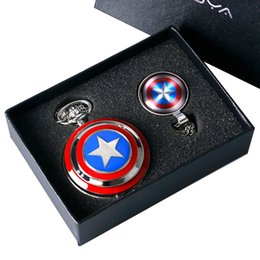$enCountryForm.capitalKeyWord UK - Captain American Star Pocket Watch Necklace Chains Fobs Shield Clock Pendant Vintage Quartz Pocket Watch Chrismas Gifts