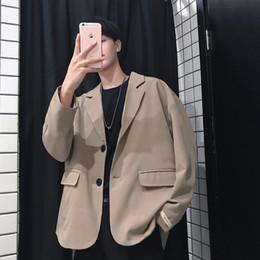 Suit Outerwear Male Australia - 2019 New Pattern Suit Clothes Loose Male Blazers Suit Jackets Western Coats Fashion Trend Black khaki Color Outerwear M-XL