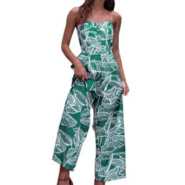 Elegant Jumpsuits Women Australia - Fashion Leaf Printed Jumpsuit Women Summer Sexy Sleeveless Rompers Ladies Elegant Off Shoulder Wide Leg Pants Outfit Overall #Ni