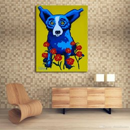 modern animal oil painting Australia - A. High Quality Handpainted & HD Print Modern Abstract Animal Art Oil Painting Blue Dog On Canvas Wall Art Home Office Deco a38