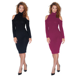 2c40eb51656 Sexy Pencil Bodycon Dresses Women 2019 Spring Winter Long Sleeve Wrap  Knitted Sweater Dress Women Mini Red Black Dress Plus Size Hisimple1