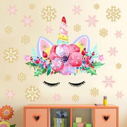 $enCountryForm.capitalKeyWord NZ - 1pc 28*28cm ins kids snowflake unicorn wall sticker children room Christmas decoration pvc stickers luxury home decor Art Stickers Decals