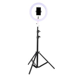 """photography lighting ring 2019 - Tycipy Phone Ring Light For iPhone X 8 7 6 Plus 10"""" 26cm Dimmable LED Ringlight With Tripod Stand For Makeup Photog"""