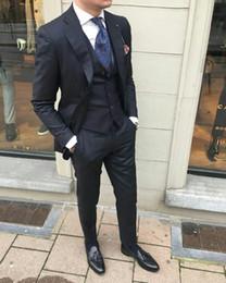 Piece Suits For Men Formals Australia - Latest Coat Pants Designs Black Mens Suits for Wedding Groom Tuxedos Groomsmen Wear Man Blazers Jacket Formal three-Pieces Costume Homme