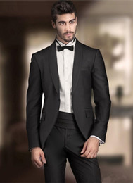 new stylish three piece suit images NZ - New Stylish Design Groom Tuxedos One Button Black Shawl Lapel Groomsmen Best Man Suit Mens Wedding Suits (Jacket+Pants+Tie) 942