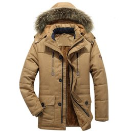 cargo military jacket Canada - Thick Warm Parka Men New Hot Long Winter Jacket Men Hooded Military Cargo Mens Winter Coat Plus Size M-5XL T190908