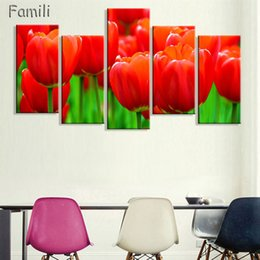 $enCountryForm.capitalKeyWord NZ - 5Pcs Set Romantic Canvas Painting flower Oil Painting Large Wall Art Pictures For Living Room Print On Canvas no frame