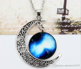 necklaces pendants Australia - New Vintage starry Moon Outer space Universe Gemstone Pendant Necklaces Mix Models