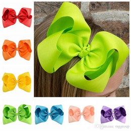 children bandanas 2021 - Baby Kids 20 Colors 8 Inch Ribbon Bow Hairpin Clips Girls Large Solid Bowknot Barrette Boutique Bows Children Hair Accessories