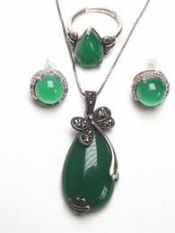 Green Gemstone Jewelry Sets Australia - Vintage 925 Sterling Silver Flower Natural Green Jade Gemstone Pendant Necklace Bracelet Earrings Women Jewelry Set