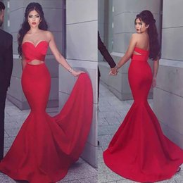 $enCountryForm.capitalKeyWord NZ - Sexy wo Pieces Mermaid Prom Dresses New 2019 Sweetheart Tight Red Satin Evening Gowns Arabic Charming Trumpet Engagement Dress Cheap