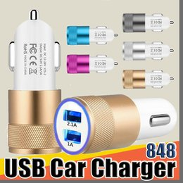 2.1 usb universal car charger Australia - 848 Metal Dual USB Port Car Charger Universal 2.1 A Led Charging Adapter For smart phone and tablet pc