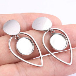 Base for earrings online shopping - blank cabochon earring base settings fit mm stainless steel elegant dangle post earrings connector findings for jewelry making