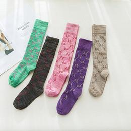 Femmes Lady G Lettres Longs Bas Chaussettes Street Bas Chaussettes Colorées Coton en Solde